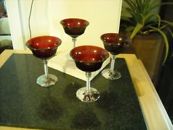 Ruby Red Sherbets Chrome Base Set Of Four Unknown Maker