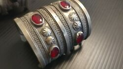 Rare Antique Afghan Silver With Carnelian Tribal Cuffs Bracelets