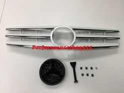 Front Grille All Chrome For '1989-'2001 Benz R129 SL-Class CL Style With Badge