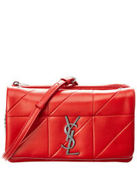Saint Laurent Womens  Jamie Small Leather Wallet On A Chain Red