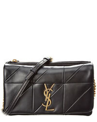 Saint Laurent Womens  Jamie Small Leather Wallet On A Chain Black