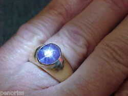 Menand039s Natural Blue Star Sapphire Ring 14k Gold Size 9 Make Offer