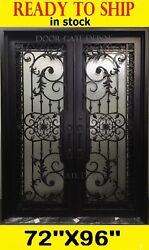 GREAT DESIGN Front iron door IN SWING with tempered GLASS 72''X96'' DGD1201