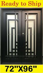 DOUBLE IRON FRONT ENTRY DOORS WITH TEMPERED GLASS 72''X96'' DGD1067