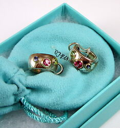 And Co Sterling Silver 18k Gold Etoile Tourmaline Sapphire Hoop Earrings
