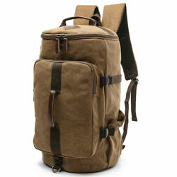 Vintage Military Men Canvas Backpack Travel Hiking Duffle Rucksack Shoulder Bag