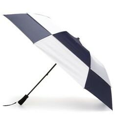 "Dk Blue White Totes Umbrella XL Extra Large 68"" Golf Automatic Windproof Vented"