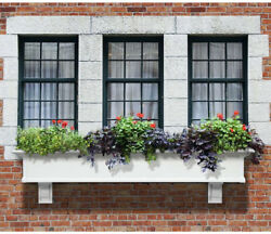 Vinyl Window Plant Box Troughs 12 in.x 72 in. Water Reservoir High Quality White