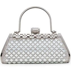 Small Evening Bags for Women Cross body Bag Chain Shoulder Evening Silver Clutch $58.63
