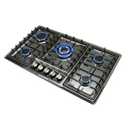 34in Black Titanium Steel 5 Burners Gas Cooktop Ng/lpg Stoves Hob Cooker - Usa