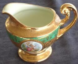 Antique Bohemia Ceramic Footed Cream Pitcher - 24k Gold Encrusted - Collectible