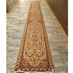 Rare Beige Amazed Floral Hand Knotted Carpet Hall Way Runner Rug (23.1 x 2.6)'