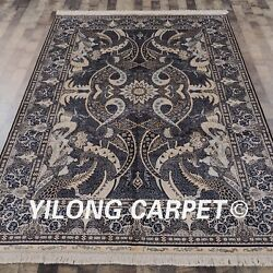 YILONG 6'x9' Persian Handknotted Silk Rugs Unique Pattern Home Carpet S01A