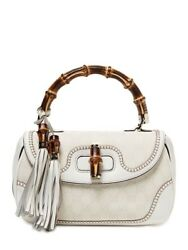 GUCCI 1921 bag with bamboo handle tassle mirror and removable strap