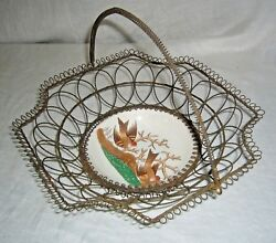 Antique 1800's Vb Wallerfangen Faience Birds Brides Twisted And Coiled Wire Basket