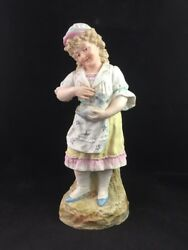 Antique German HEUBACH Porcelain Bisque Girl and Cat 12 12