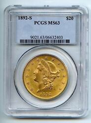 1892-S $20 LIBERTY GOLD DOUBLE EAGLE ~ PCGS MS63 ~ GRADED COLLECTORS PIECE