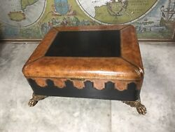 Vintage Maitland Smith Colonial Style Leather Covered Trunk And Coffee Table