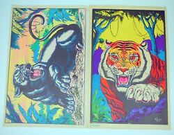 TWO 2 Vintage BLACKLIGHT POSTERs TIGER Black PANTHER A Guerrero ART 1976 MONARCH