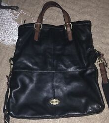 FOSSIL BLACK  LEATHER  EXPLORER TOTE Bag Purse CONVERTIBLE  $238