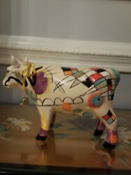 Painted Art Ceramic Cow Coin Bankandnbsp 11 X 7 1/2 Abstract Design