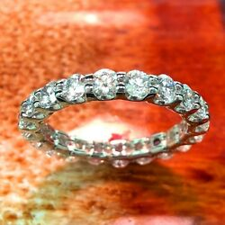 2.33 Ct Natural Round Diamond Eternity Ring In 18k White Gold New
