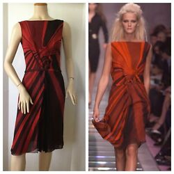 Gianni Versace Vintage Couture Stunning Red And Black Deep V Back Dress Size 42