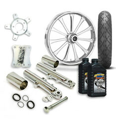 Rc 21 Exile Wheel Tire And Complete Chrome Front End Package Harley 14-19 Flh