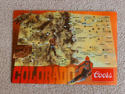 100s Vintage Coors Beer 1983 Colorful Colorado Illustrated Map Paper Placemats