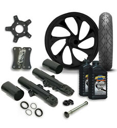 Rc 21 Drifter Wheel Tire And Complete Black Front End Package Harley 14-19 Flh