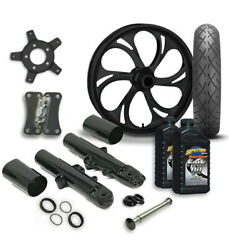 Rc 21 Recoil Wheel Tire And Complete Black Front End Package Harley 14-19 Flh