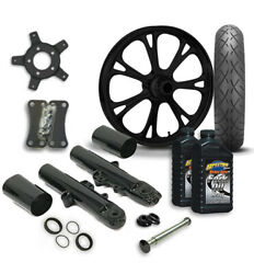 Rc 21 Epic Wheel Tire And Complete Black Front End Package Harley 14-19 Flh