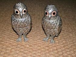 Antique Corbell And Co. Silver Plate Owl Salt And Pepper Shakers W/ Large Glass Eyes