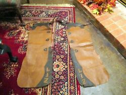 Vintage Old West 3 Buckle Hand Stitched Rawhide Leather Batwing Chaps 1940