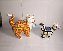 Whimsiclay Amy Lacombe Lot Of 2 Cat Figures Delirious Geometric Patterns