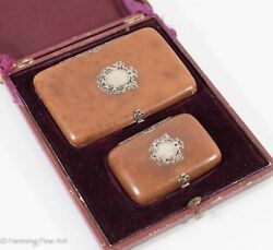 Antique Victorian Coin Purse Wallet Cigarette Case In Leather And Sterling Silver
