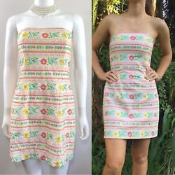 Lilly Pulitzer Size 0, Xs 'olie' Hand-embroidered Floral Spring Strapless Dress