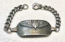 Wwii Us Army Military Air Force Insignia Air Gunner Wings Sterling Bracelet