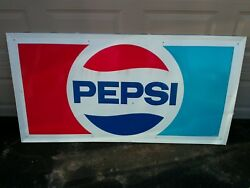 Vintage 1950's Outdoor Pepsi Sign Reproduction 36 X 67 Restored