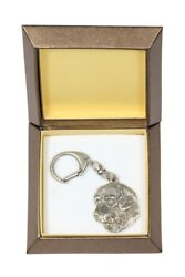 Golden Retriever Keychain In A Box, Silver Plated Key Ring Usa 2722