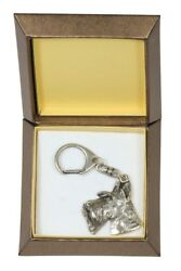 Scottish Terrier Keychain in a Box Silver Plated Key Ring USA 2736