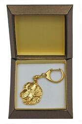 Golden Retriever Keychain In A Box, Golden Plated Key Ring Usa 2393