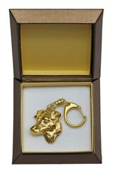 Jack Russel Terrier Keychain in a Box Golden Plated Key Ring USA 2436