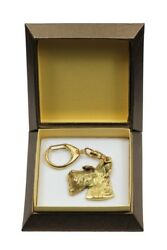 Scottish Terrier Keychain in a Box Golden Plated Key Ring USA 2855