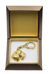 Irish Soft Coated Wheaten Terrier Keychain in a Box Golden Plated Key Ring USA