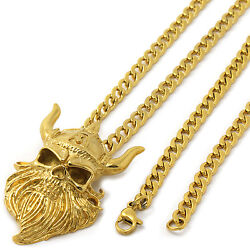 Mens Gold Tone Stainless Steel Viking Skull Pendant 4mm 24 Cuban Necklace Chain