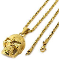 Men's 14k Gold Tone Stainless Steel Skull Pendant 3mm 24 Rope Necklace Chain