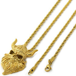Mens Gold Tone Stainless Steel Viking Skull Pendant 3mm 24 Rope Necklace Chain