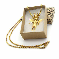 Mens Gold Plated Stainless Steel Royalty Angel Pendant Hip-hop 24 Rope Chain