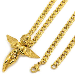 Men Gold Tone Stainless Steel G Prayer Angel Pendant 4mm24 Cuban Necklace Chain